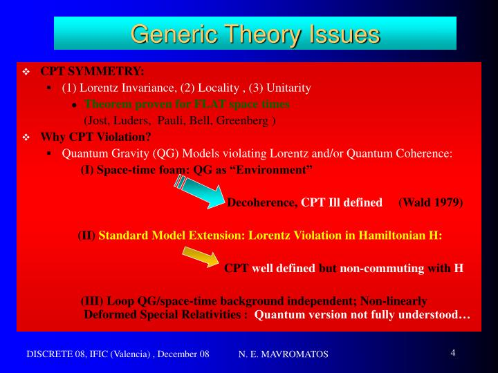 Generic Theory Issues