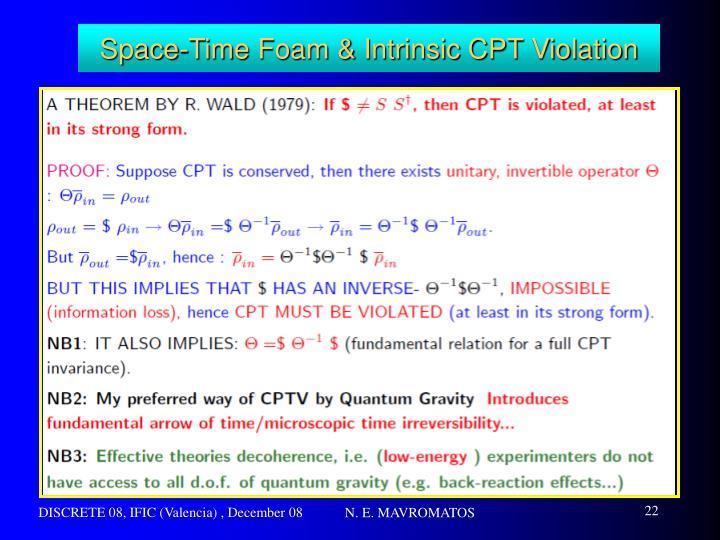 Space-Time Foam & Intrinsic CPT Violation