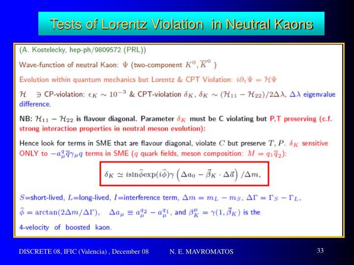 Tests of Lorentz Violation  in Neutral Kaons