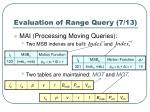 evaluation of range query 7 13
