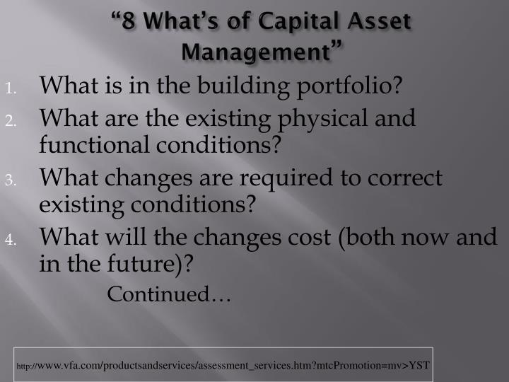 """""""8 What's of Capital Asset Management"""