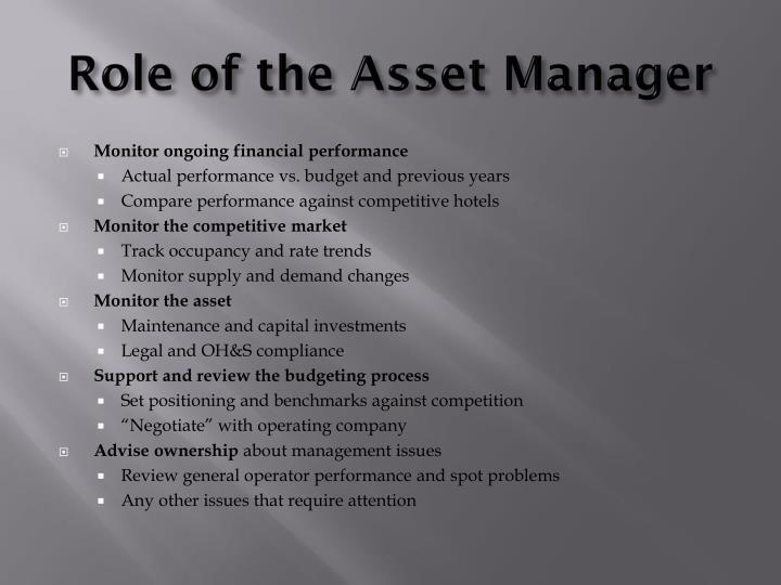 Role of the Asset Manager