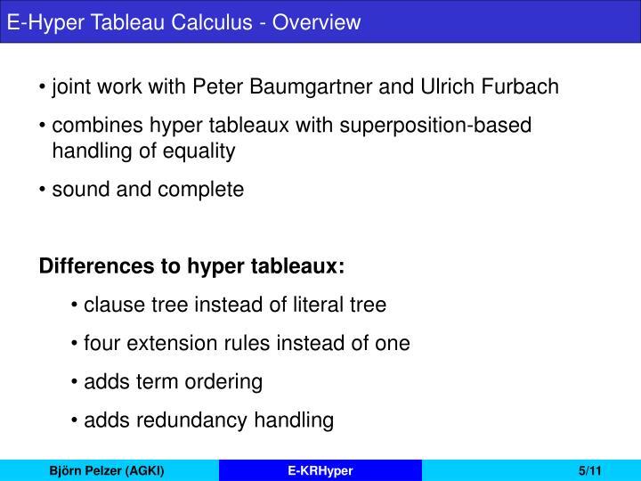 E-Hyper Tableau Calculus - Overview