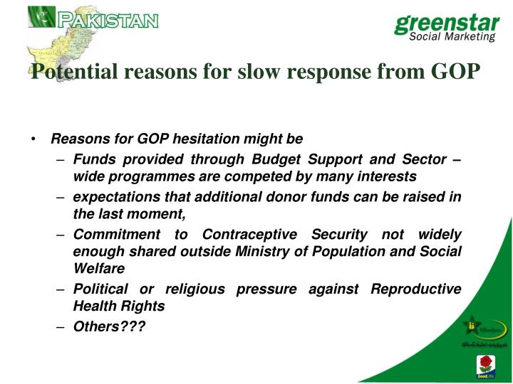 Potential reasons for slow response from GOP