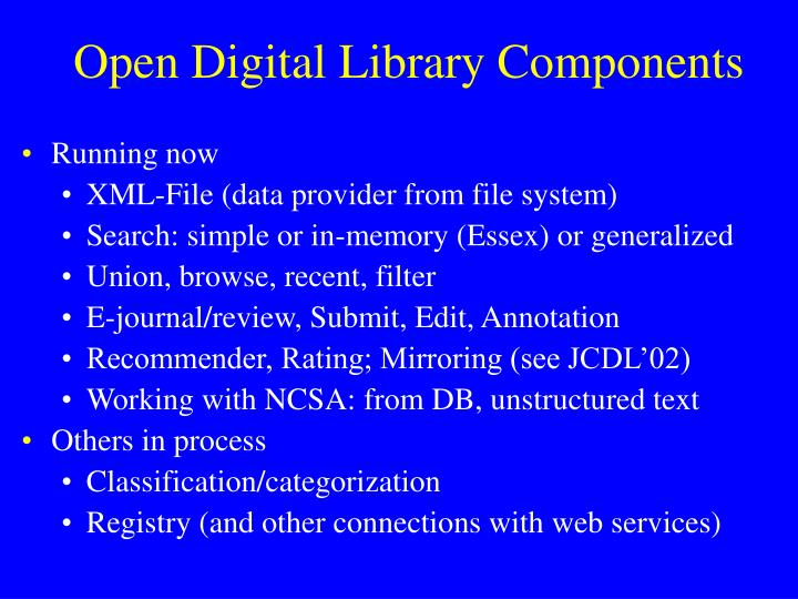 Open Digital Library Components