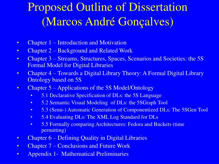 Proposed Outline of Dissertation