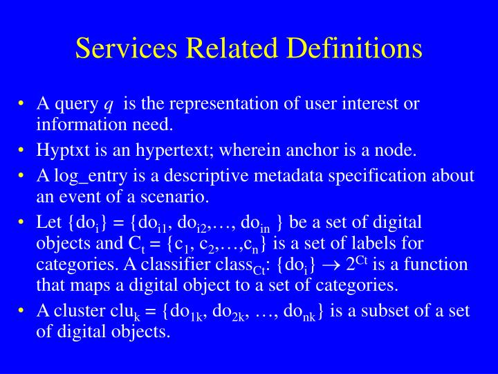 Services Related Definitions