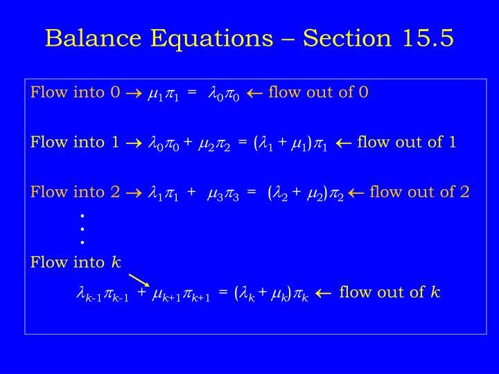 Balance Equations – Section 15.5