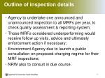 outline of inspection details