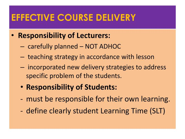 EFFECTIVE COURSE DELIVERY