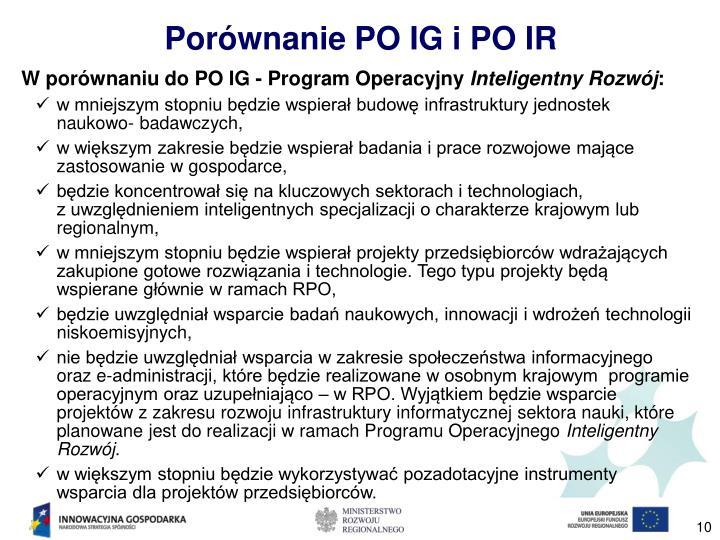 Porównanie PO IG i PO IR