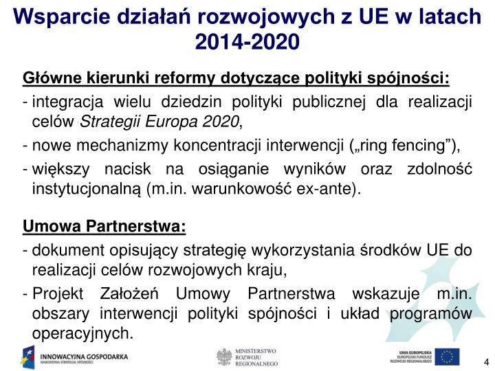 Wsparcie działań rozwojowych z UE w latach 2014-2020