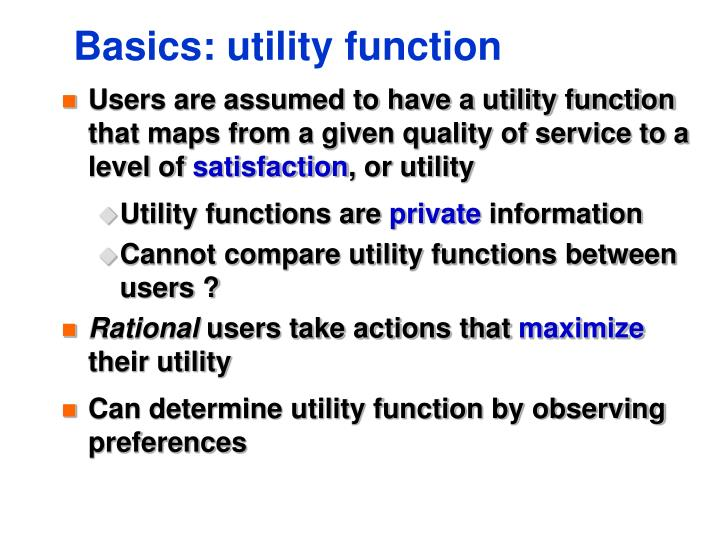 Basics: utility function