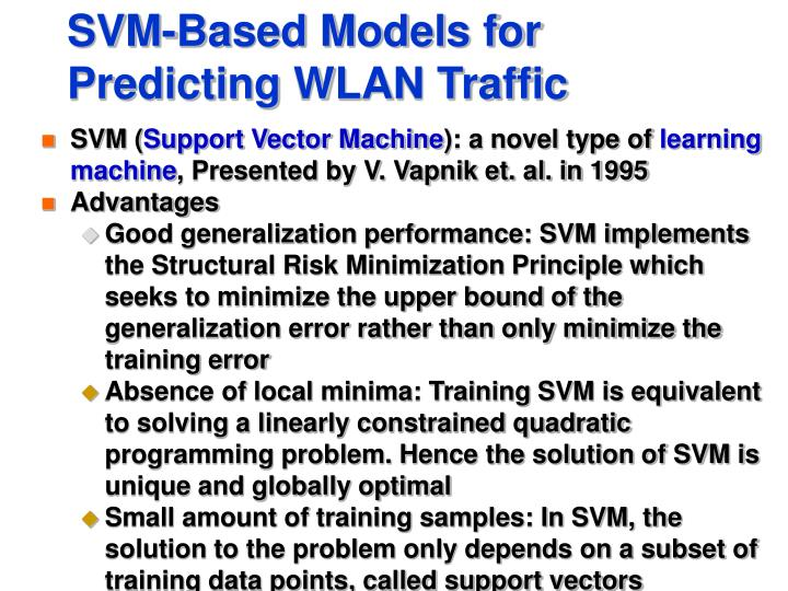 SVM-Based Models for Predicting WLAN Traffic