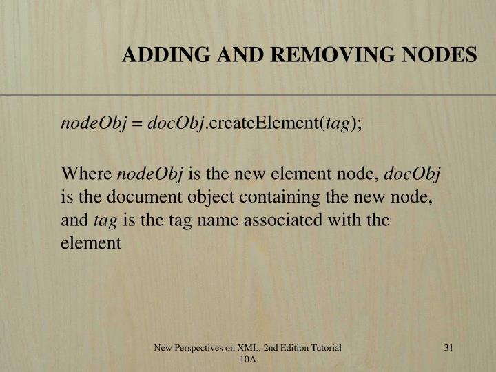 ADDING AND REMOVING NODES