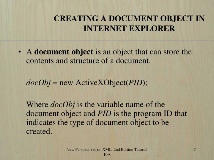 CREATING A DOCUMENT OBJECT IN INTERNET EXPLORER