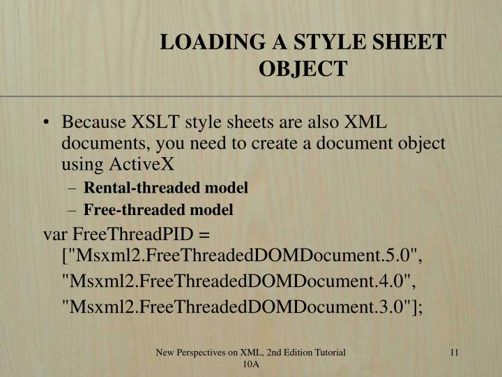 LOADING A STYLE SHEET OBJECT