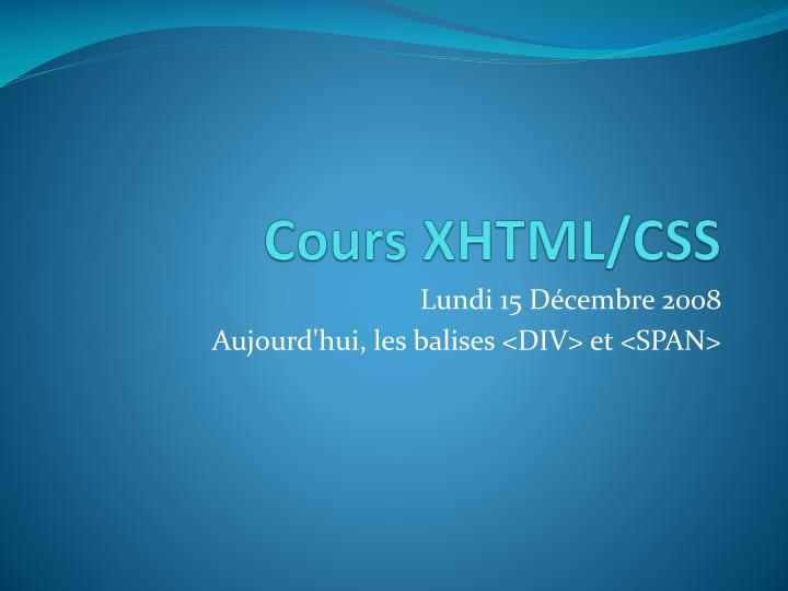 Cours xhtml css