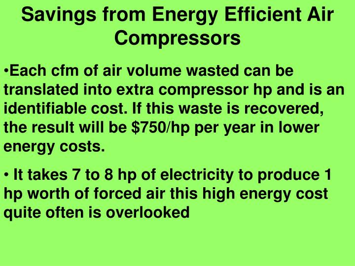 Savings from Energy Efficient Air Compressors