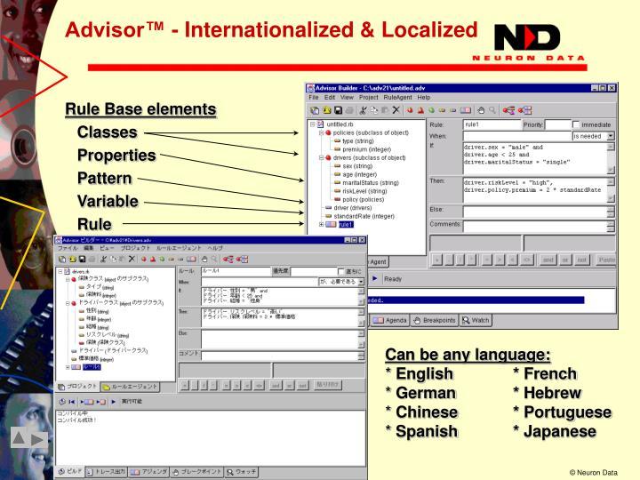 Advisor™ - Internationalized & Localized