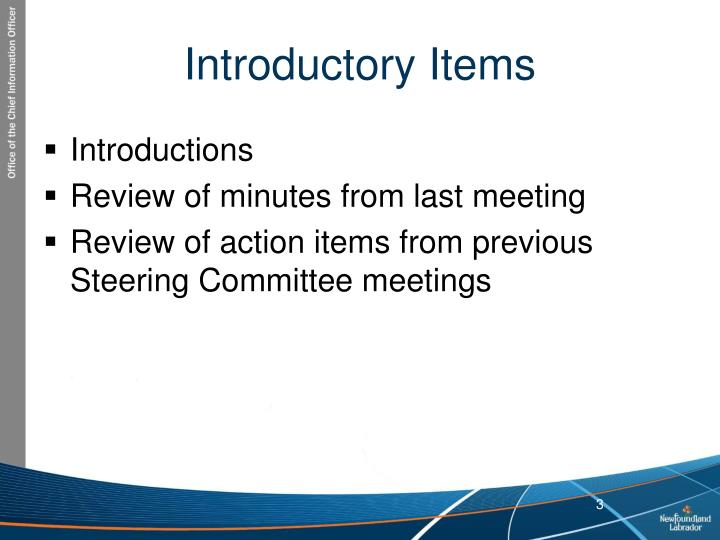 Introductory items