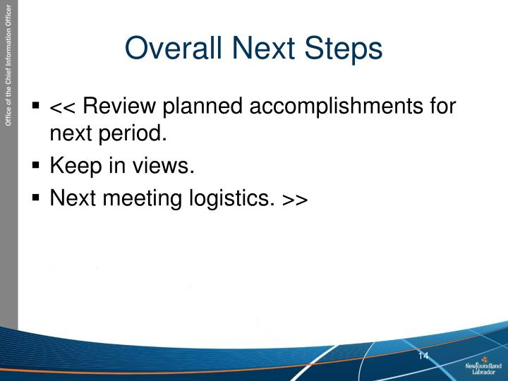 Overall Next Steps