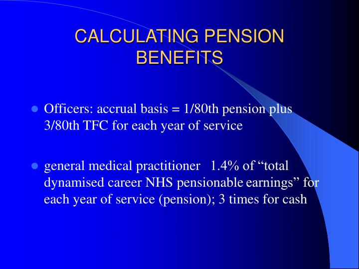 CALCULATING PENSION BENEFITS