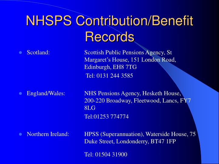 NHSPS Contribution/Benefit Records