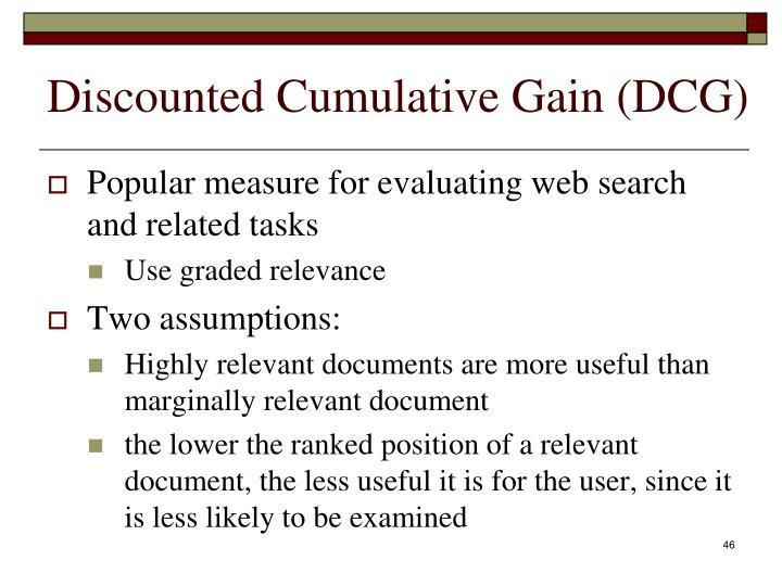 Discounted Cumulative Gain (DCG)