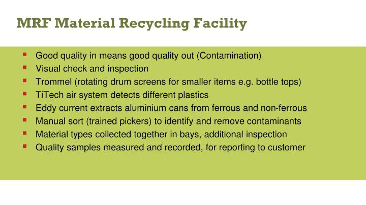 MRF Material Recycling Facility