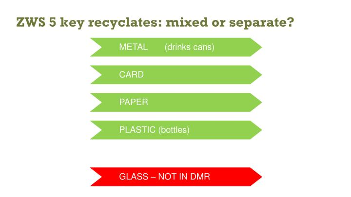 Zws 5 key recyclates mixed or separate