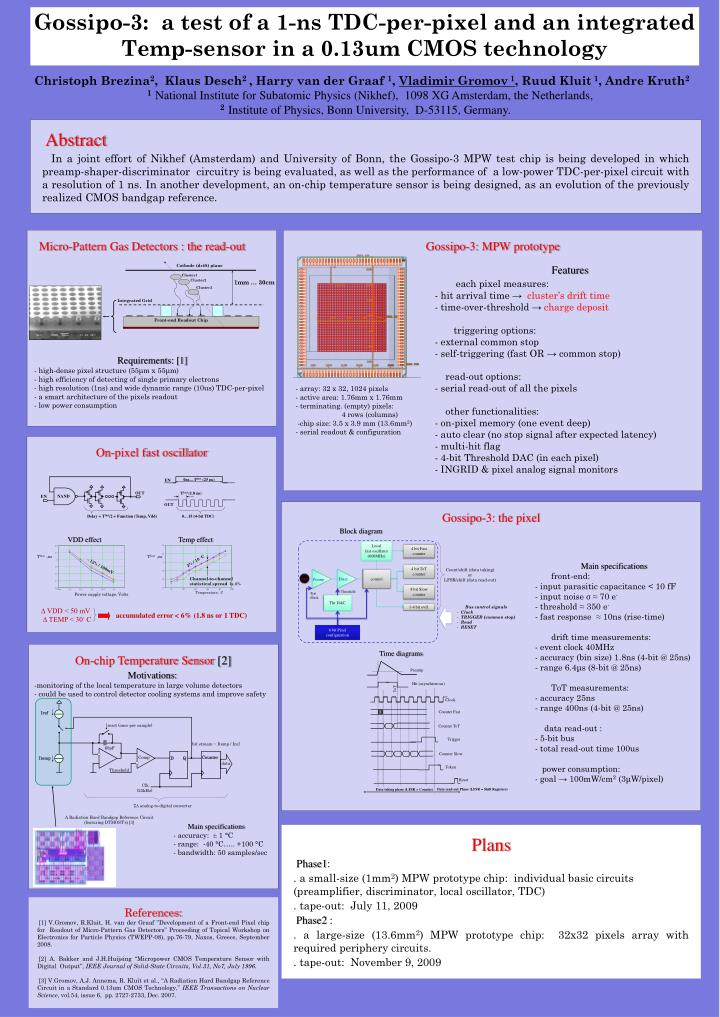 Gossipo-3:  a test of a 1-ns TDC-per-pixel and an integrated Temp-sensor in a 0.13um CMOS technology