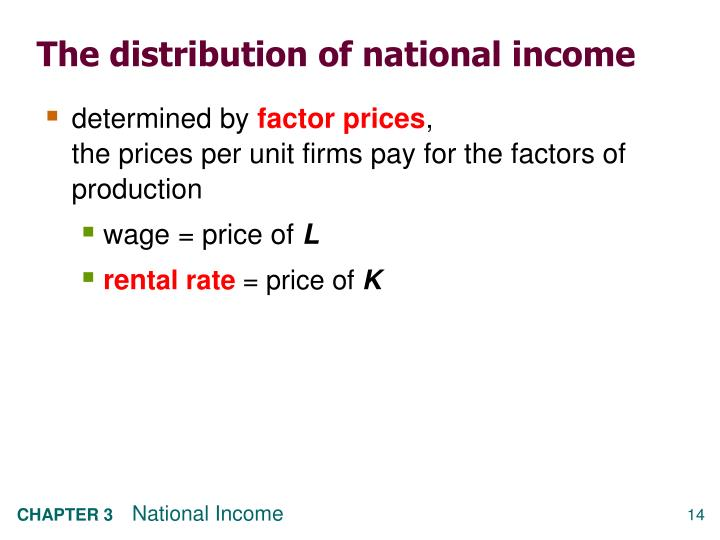 The distribution of national income