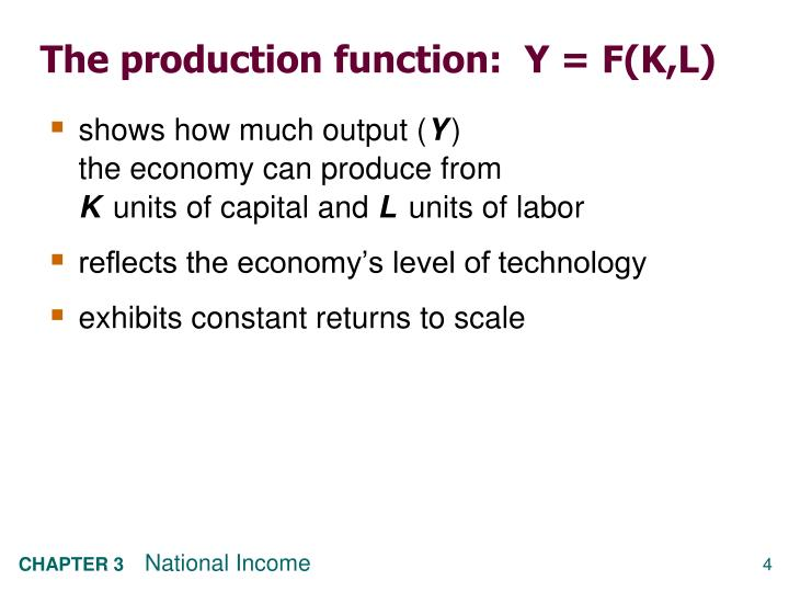 The production function:  Y = F(K,L)