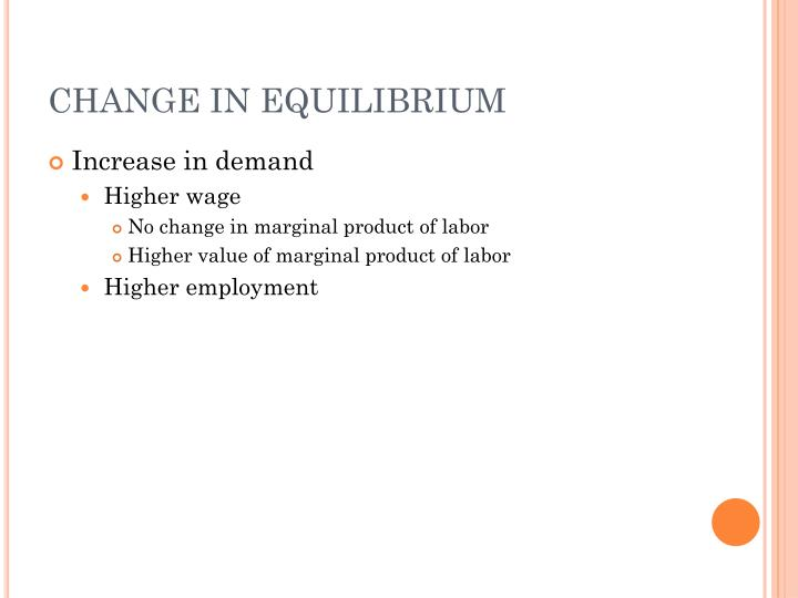 CHANGE IN EQUILIBRIUM