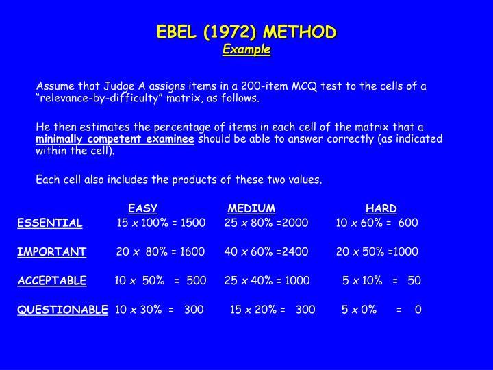 EBEL (1972) METHOD