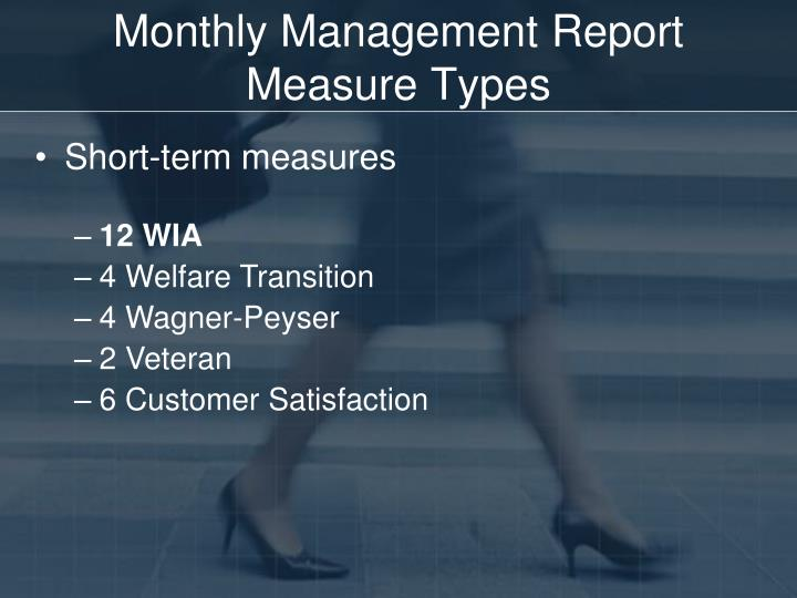 Monthly Management Report Measure Types
