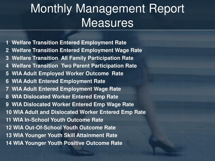 Monthly Management Report Measures
