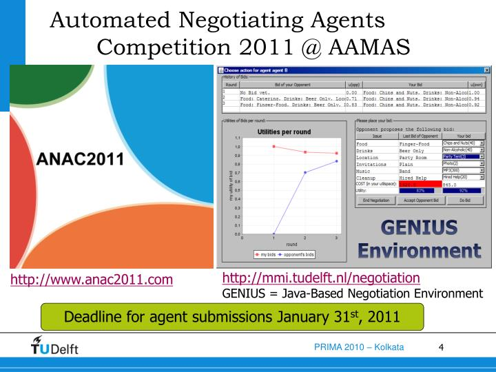 Automated Negotiating Agents Competition 2011 @ AAMAS