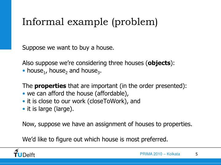 Informal example (problem)