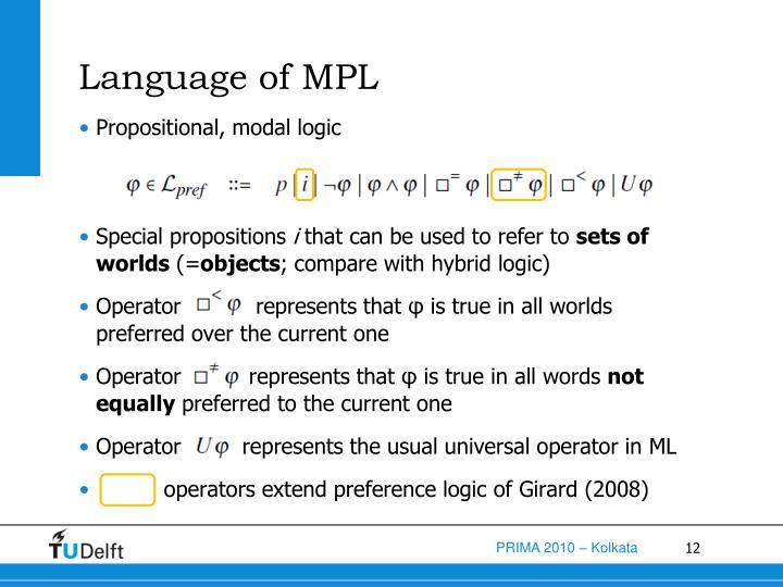 Language of MPL