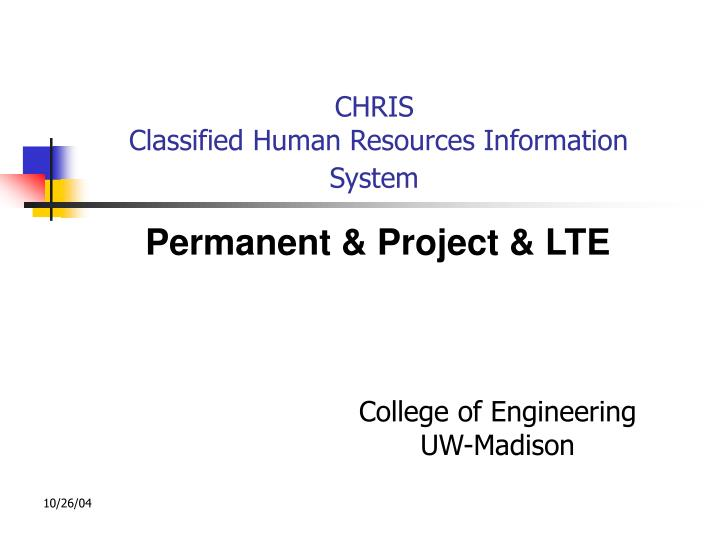 chris classified human resources information system n.