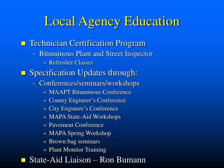 Local Agency Education