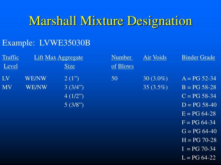 Marshall Mixture Designation