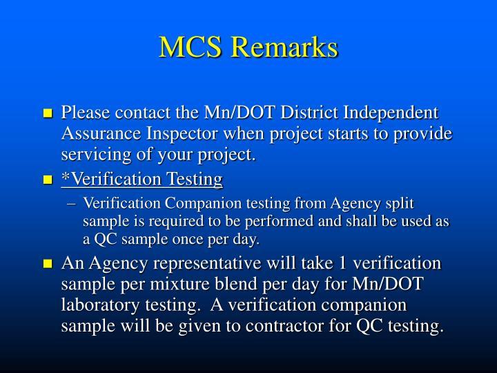 MCS Remarks