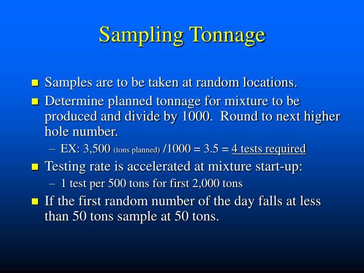 Sampling Tonnage