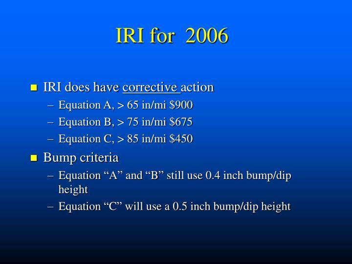 IRI for  2006