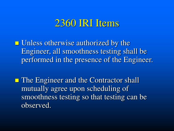 2360 IRI Items