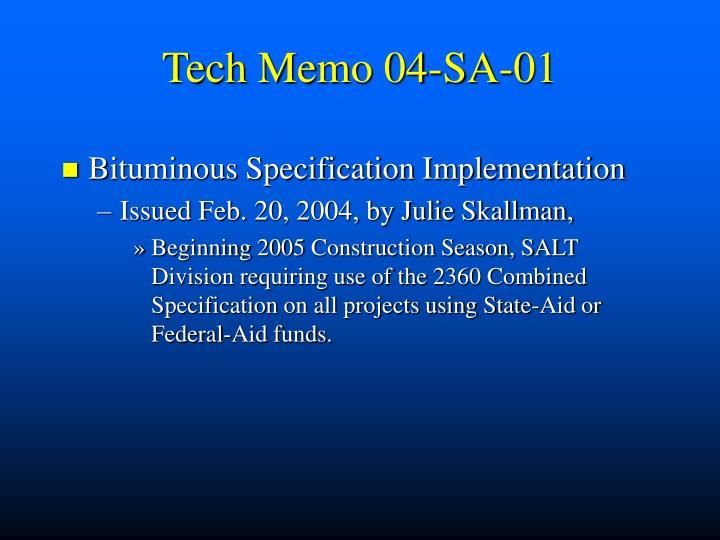 Tech Memo 04-SA-01
