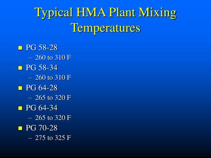 Typical HMA Plant Mixing Temperatures